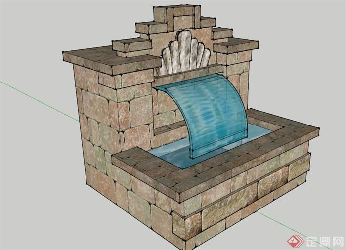 园林景观设计某喷泉池设计su(草图大师)模型[原创]