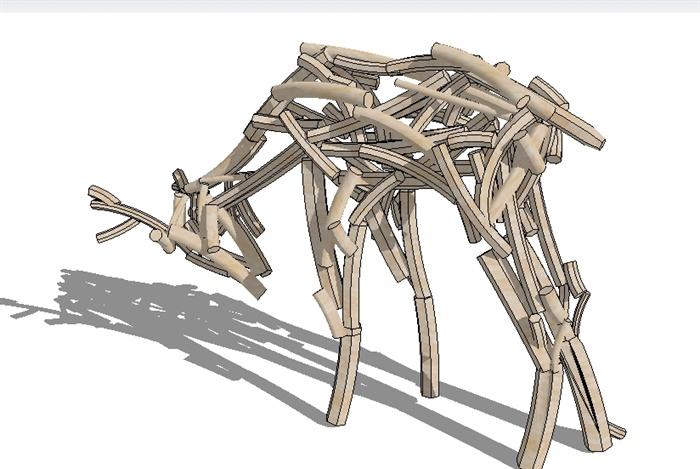 一组鹿木头雕塑su精致小品模型[原创]