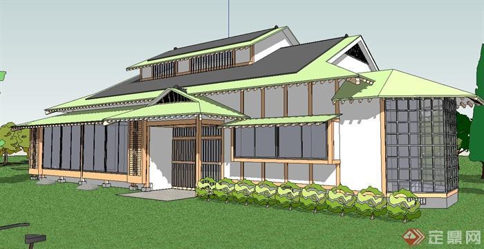日式独栋别墅建筑设计su模型[原创]