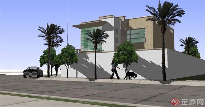 现代沿街独栋别墅建筑设计su模型