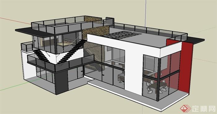 某现代独栋别墅建筑设计su模型含室内家具[原创]图片