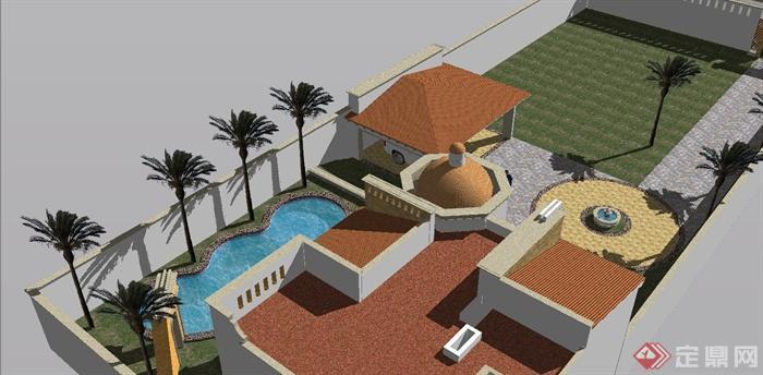某欧式独栋别墅建筑设计su模型(含车库,庭院)(2)