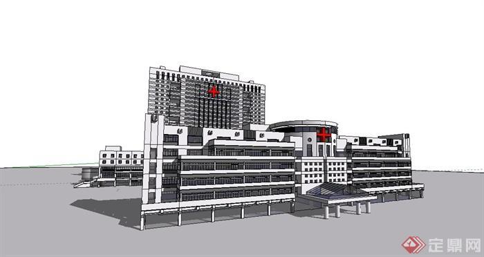 現代多層、高層醫院建筑設計su模型,該模型制作精細美觀,有材質貼圖,材質貼圖比較美觀,具有很好的學習價值,可直接下載借鑒使用。