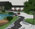 景石,景石石头,自然石,卵石铺装,树池,长廊