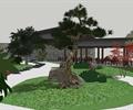 树池,廊架,草坪,地面铺装,长廊