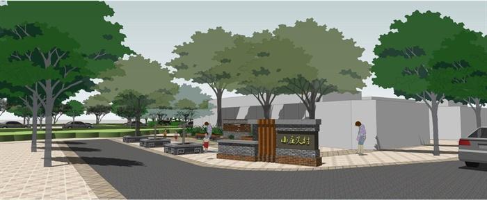 乡村公园景观设计和村口节点su模型