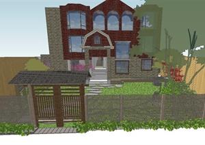日式小庭院景观SU(草图大师)精致设计模型