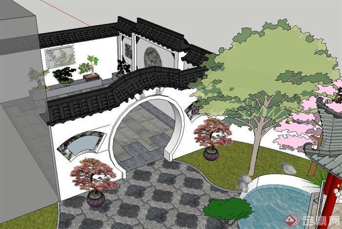 中式别墅院子景观su精致设计模型(4)