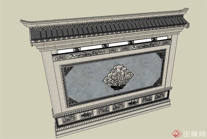 古典中式浮雕花纹景墙照壁设计su模型