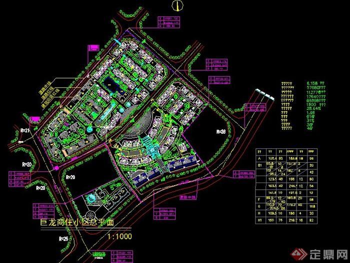 住小区规划设计cad总平面图图片