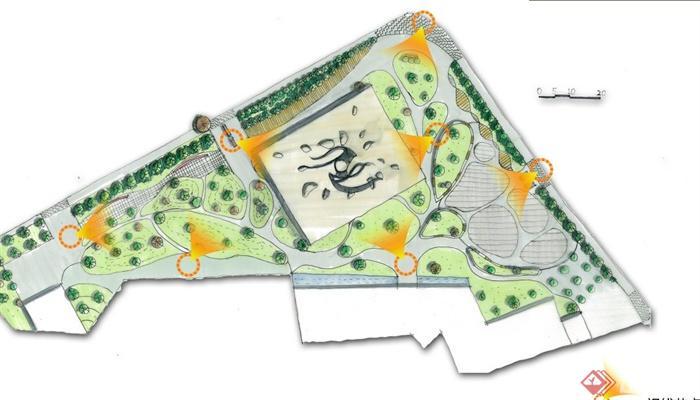 城市廣場景觀規劃設計jpg方案圖與ppt文本