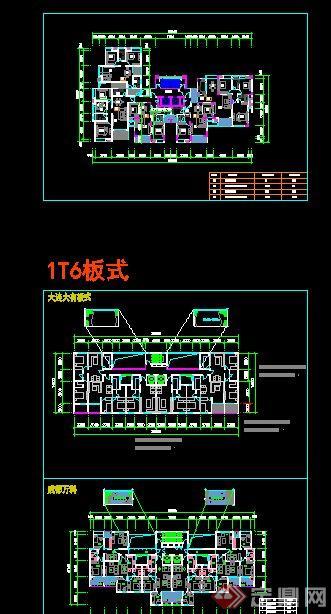 住宅建筑一梯5 6户户型设计cad平面图