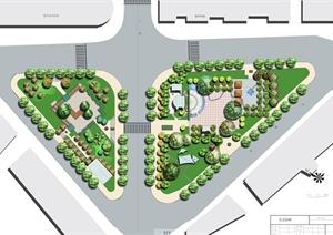 某城市道路两侧绿化景观设计PSD效果图与教材资料