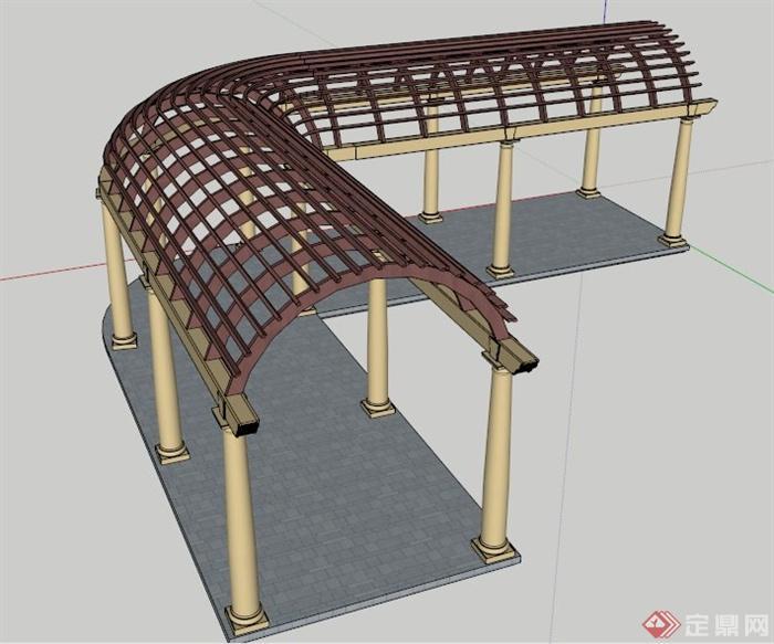 某l型拱形顶欧式廊架su模型(1)