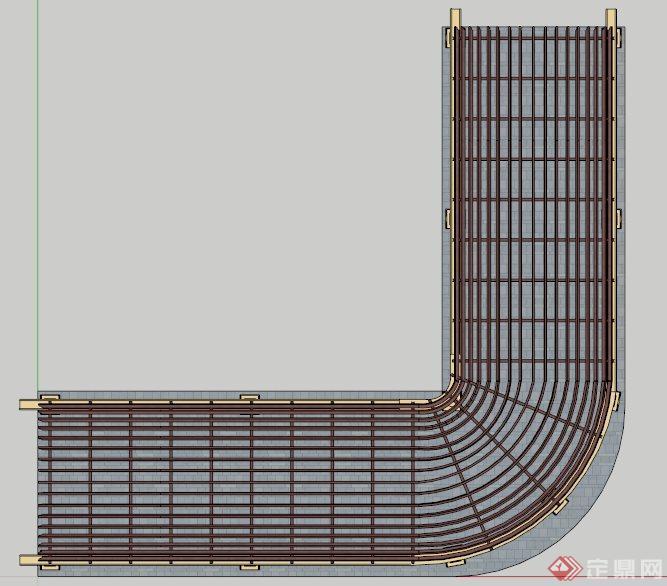某l型拱形顶欧式廊架su模型(2)