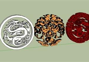 园林景观小品龙纹装饰素材