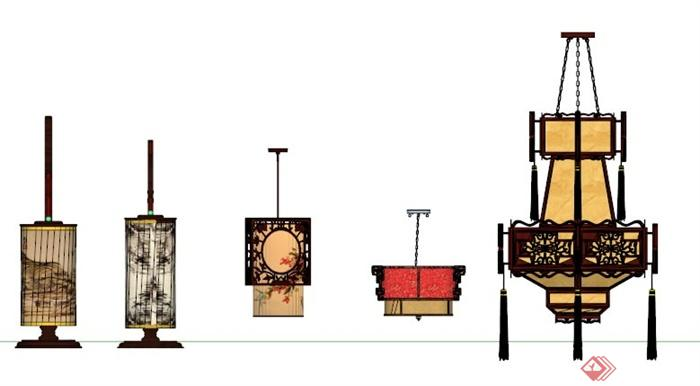 设计素材中式灯笼SU模型(4)