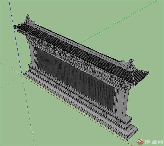 古典中式文化墙景墙设计SU模型(2)
