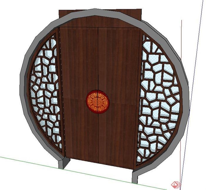古典中式圆形木质门设计su模型