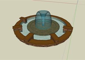 西班牙喷泉水池设计SU(草图大师)模型