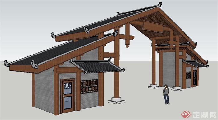 古典中式某入口大门门廊门楼设计su模型(2)图片