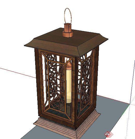 古典中式地灯灯柱设计su模型[原创]