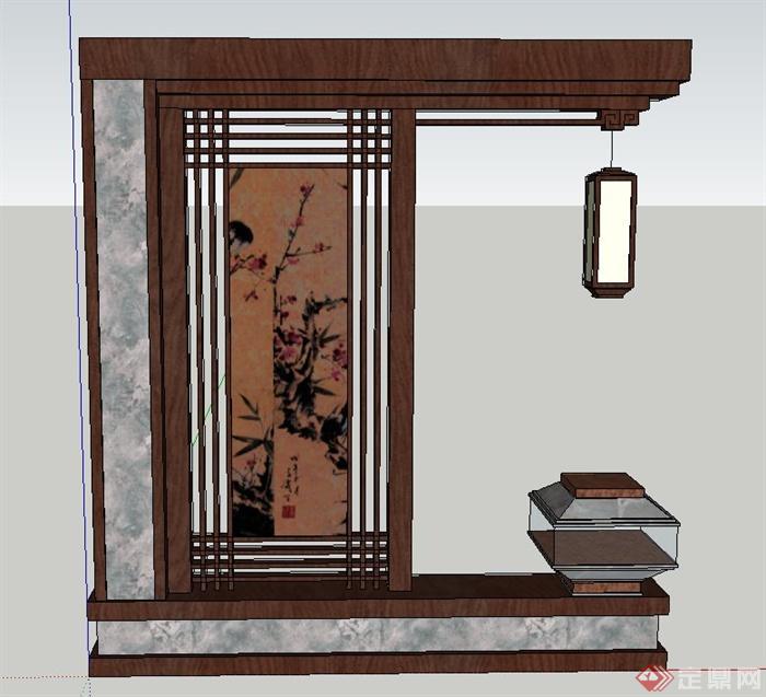 室内木质屏风隔断墙设计su模型[原创]