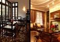 茶室空间,木桌椅,壁炉