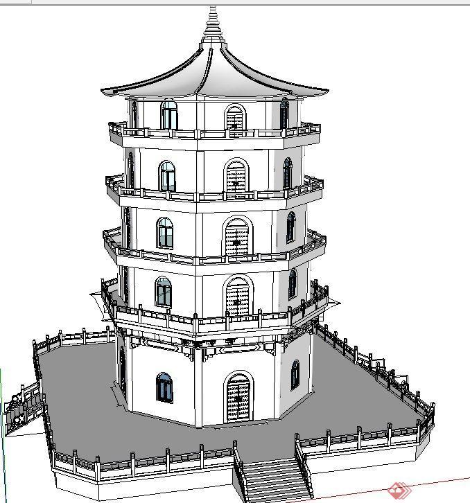 两个古典中式带斗拱塔楼建筑设计su模型(2)