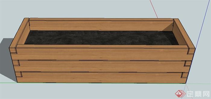 木质长方形花箱设计su模型[原创]