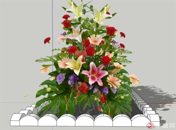 长方形花坛设计su模型[原创]