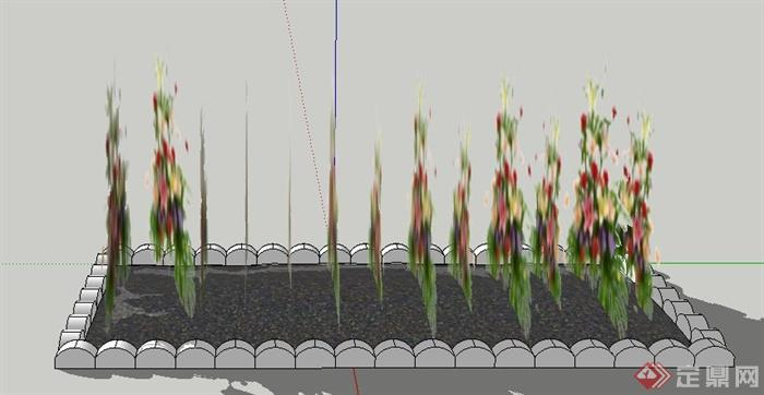 长方形花坛设计su模型(2)