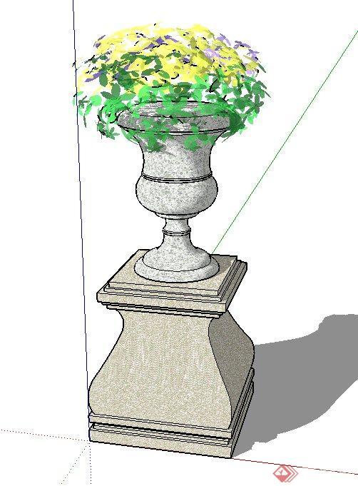 景观节点圆形花钵设计su模型[原创]