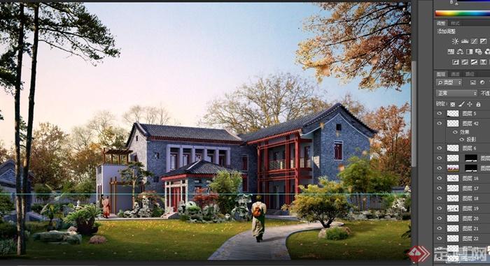 某多层古典中式别墅小区景观效果图psd格式