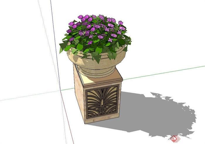 某欧式花钵,花钵柱设计su模型(3)