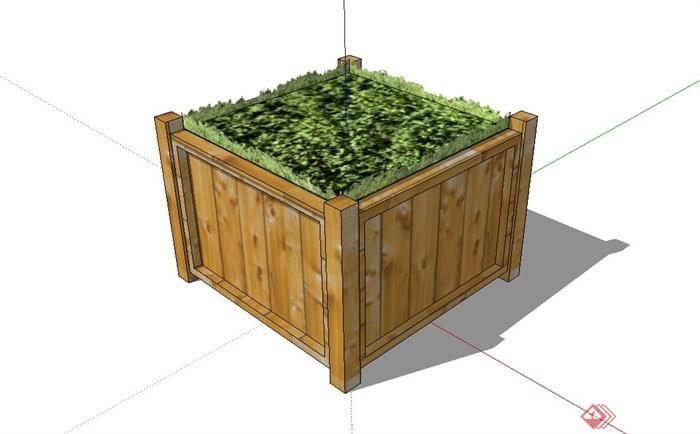 正方形木质花箱设计su模型[原创]
