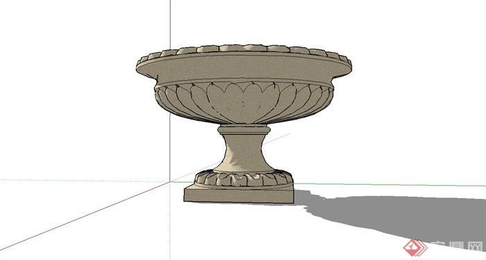 某欧式圆形花钵设计su模型[原创]