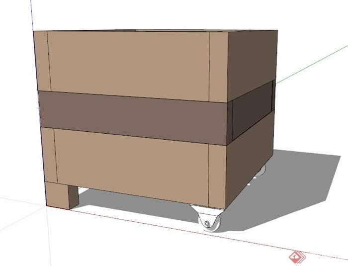 某现代可移动花箱su模型(1)