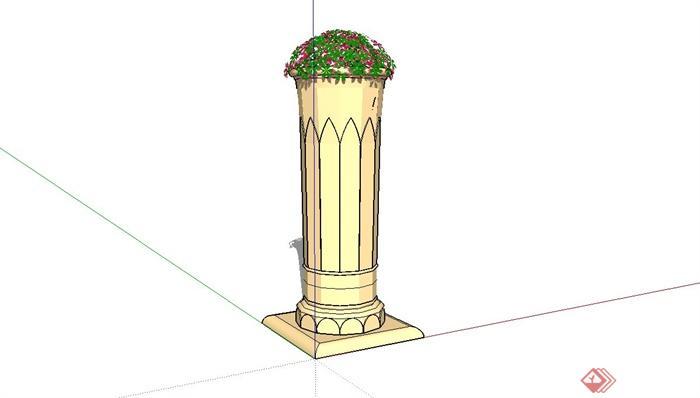欧式花钵柱设计su模型(3)