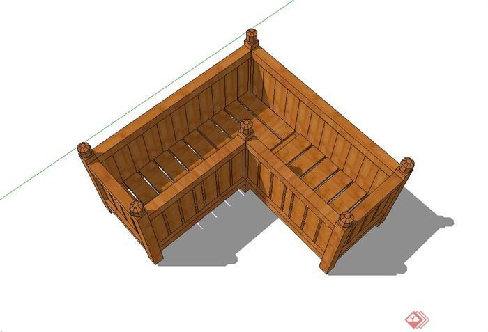 现代木质花箱设计su模型[原创]