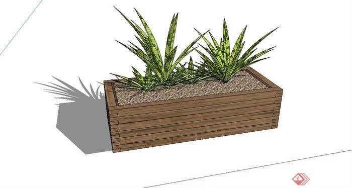 长方形木花箱设计su模型(1)