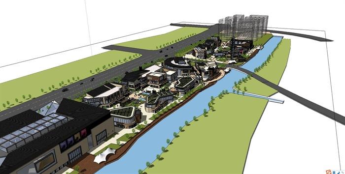 滨河商业街景观规划设计su模型(含商业建筑)[原创]