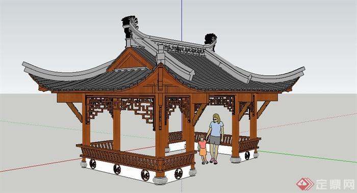 古典中式邻水四角景观亭设计su模型图片