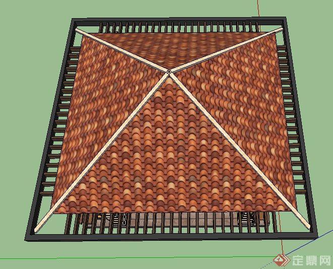 欧式室内屋顶石膏四角花效果图