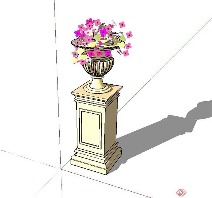 欧式圆形花钵,花钵柱设计su模型[原创]