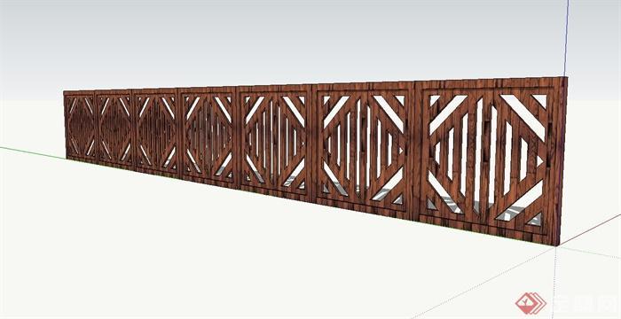 现代中式木栅栏,围栏设计su模型