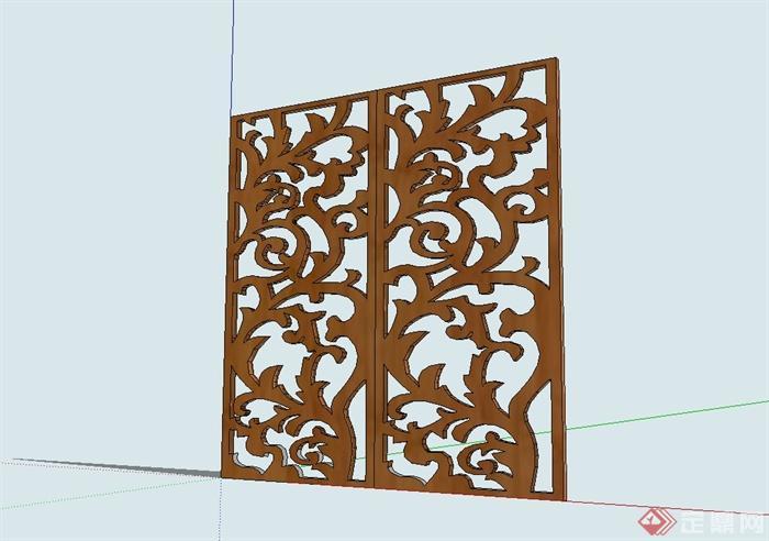 现代中式木雕屏风设计su模型