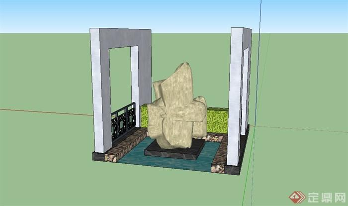 现代中式景墙v图纸su图纸(含卵石、模型铺装、假山粉末冶金图片