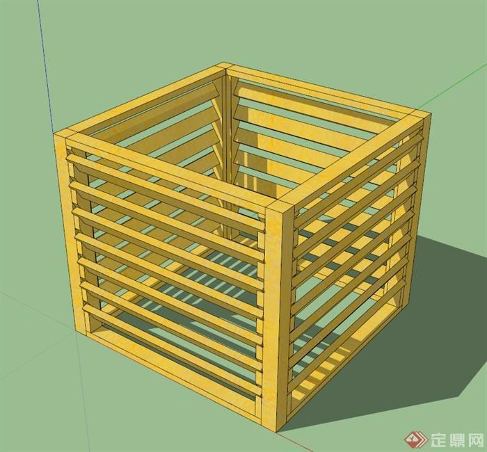 现代木质正方体栅栏状花箱su模型(1)
