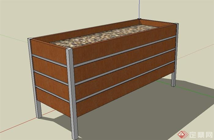 长方形木质花箱设计su模型[原创]